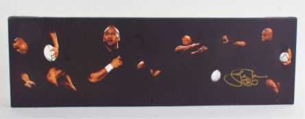 Jonah Lomu, signed limited edition print on canvas, numbered 95/300, with COA, unframed, 59.5cm wide