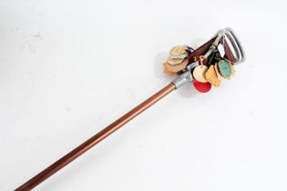 Featherwate shooting stick, attached with 1960's horse club labels