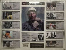 Stirling Moss, original signed montage, titled F1 Legends, with COA to reverse, housed within a