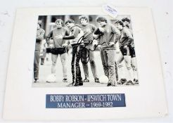 Bobby Robson - mounted and signed photograph, unframed, with COA from Ipswich Town Football Club