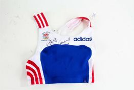 Sally Gunnell, signed ladies running top, lacking COA