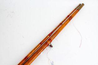 Split Cane three piece fishing rod, (unmarked)