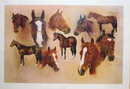 "Desmond Fallon limited edition print, ""The Classics"", depicting ten horses including Shergar,"