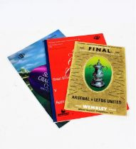 Arsenal v Leeds United 1972 FA Cup final programme, Great Britain v Australia 1990 programme, and