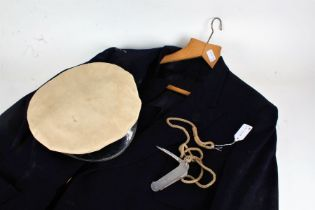 Gieves Limited Yachting cap, together with a Lockspike Bosun knife and a sailing jacket with brass