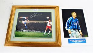 John Wark signed photograph, lacking COA, housed within a gilt and glazed frame, 24cm wide x 19cm