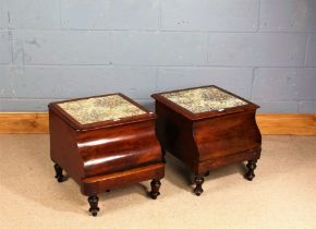 Two 19th century mahogany step commodes, each of similar form (2)