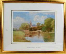 """ATD, """"The Ferry at Stratford-upon-Avon"""", initialled watercolour, dated 1901, titled to the mount,"""
