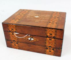 Victorian walnut and Tunbridge ware combination jewellery and writing box, the hinged lid opening to