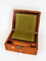Victorian mahogany and brass bound writing box, the hinged lid with vacant cartouche, with green