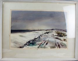 Thomas Liverton (1907 - 1973), Sussex Coast Under Snow, signed watercolour, housed in a contemporary