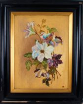 Early 20th Century school, flowers in an Art Nouveau manner, initialled GC, oil on canvas, 29cm x