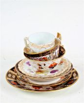 Royal Crown Derby imari pattern trio, Davenport foliate decorated cabinet cup and saucer, foliate