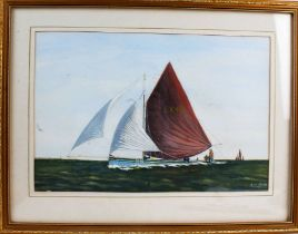 """Leo Bridges, """"Staysail Barges at the Deben Estuary"""", signed watercolour, dated 1995, housed in a"""
