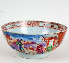 Chinese Export Mandarin palette punch bowl, Qing Dynasty, late 18th Century, polychrome decorated
