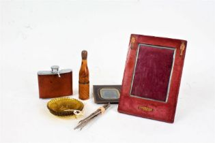 Works of art to include red leather and copper mounted picture frame, brown leather mounted hip