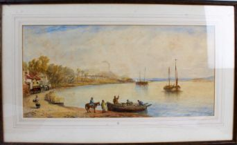 J Salmon, 19th century school, study of figures by a shoreline, signed watercolour, dated 1876,