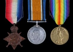 First World War Trio of Medals, 1914 Star, 1914-1918 British War Medal, Victory Medal (MS 4376