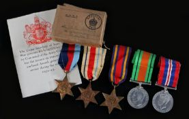 Second World War grouping of medals, 1939-1945 Star, Africa Star, Burma Star, Defence Medal, 1939-
