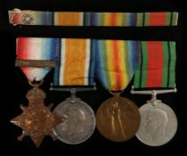 First and Second World War group of four medals, 1914 Star with clasp '5th Aug.22nd.Nov.1914' (27038