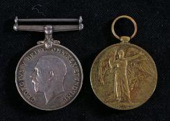 First World War pair of medals, 1914-1918 British War Medal and Victory Medal (2115 DVR. J.L.
