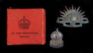 Silver ARP Badge, London 1938, maker Royal Mint, held in original box, together with an Australian