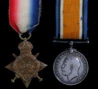 First World War pair of medals, 1914-15 Star, 1914-1918 British War Medal (3793 PTE. J. E. BOWLER.