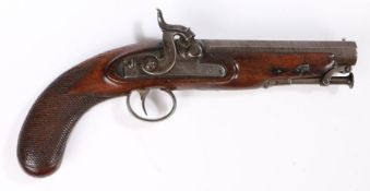 19th century percussion pistol by Clark of London, maker signed to lock plate, octagonal damascus