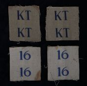Two pairs of Second World War uncut printed Formation Signs to the 16th (Gravesend) Battalion,