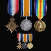 First World War Somme casualty trio of medals, 1914-15 Star (48827 CPL. A.R. JOHNSON. R.E.), 1914-