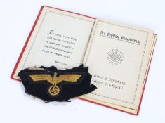 German Third Reich Kriegsmarine officers breast eagle, very fine embroidered eagle on blue cloth,