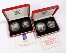 Royal Mint, two cased 1990 Silver proof Five Pence Two-Coin set Five Pence pieces, (2)