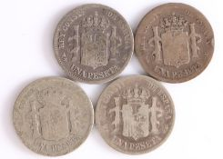 Spain, Una Peseta, 1883, 1889, 1893, 1905, (4)