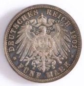 GERMANY, Prussia silver 5 marks 1901A, 200 years of the Kingdom of Prussia the obverse being