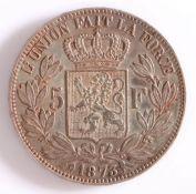 Belgium, Leopold II 5 Francs, 1873