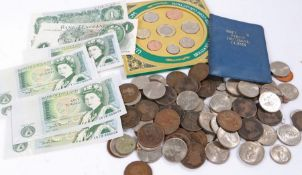 Collection of coins and banknotes, to include various coins, a coin set, decimal set, also