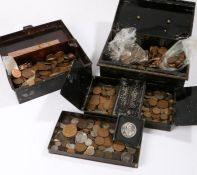 Collection of coins, housed within two tins, to include Tokens, various dates and denominations, (