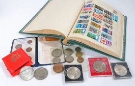 Collection of coins and stamps, to include a Decimal set, cased crowns, Chinese coin, also