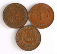 India Straits, Victoria One Cent 1862, together with East India Company 1845 One Cent and Straits