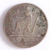 George III, Irish Bank Token, XXX Pence, 1808