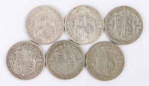 Collection of Half Crowns, to include 1914, 1915, 1916, 1920, 1921 and 1922, (6)