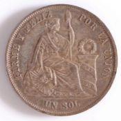 Peru, One Sol, 1865