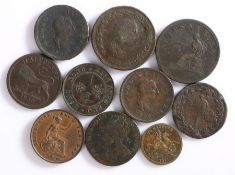 Coins and tokens, to include George III one Penny Tokens, Halfpenny Tokens, Hong Kong one Cent 1877,