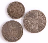 British coins, George I Shilling 1723, together with George IIII Sixpence and George IV Shilling, (