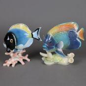 """Zwei Tierplastiken """"Exotischer Fisch"""" - Goebel, Entwurf von Gerhard Skrobek (19"""