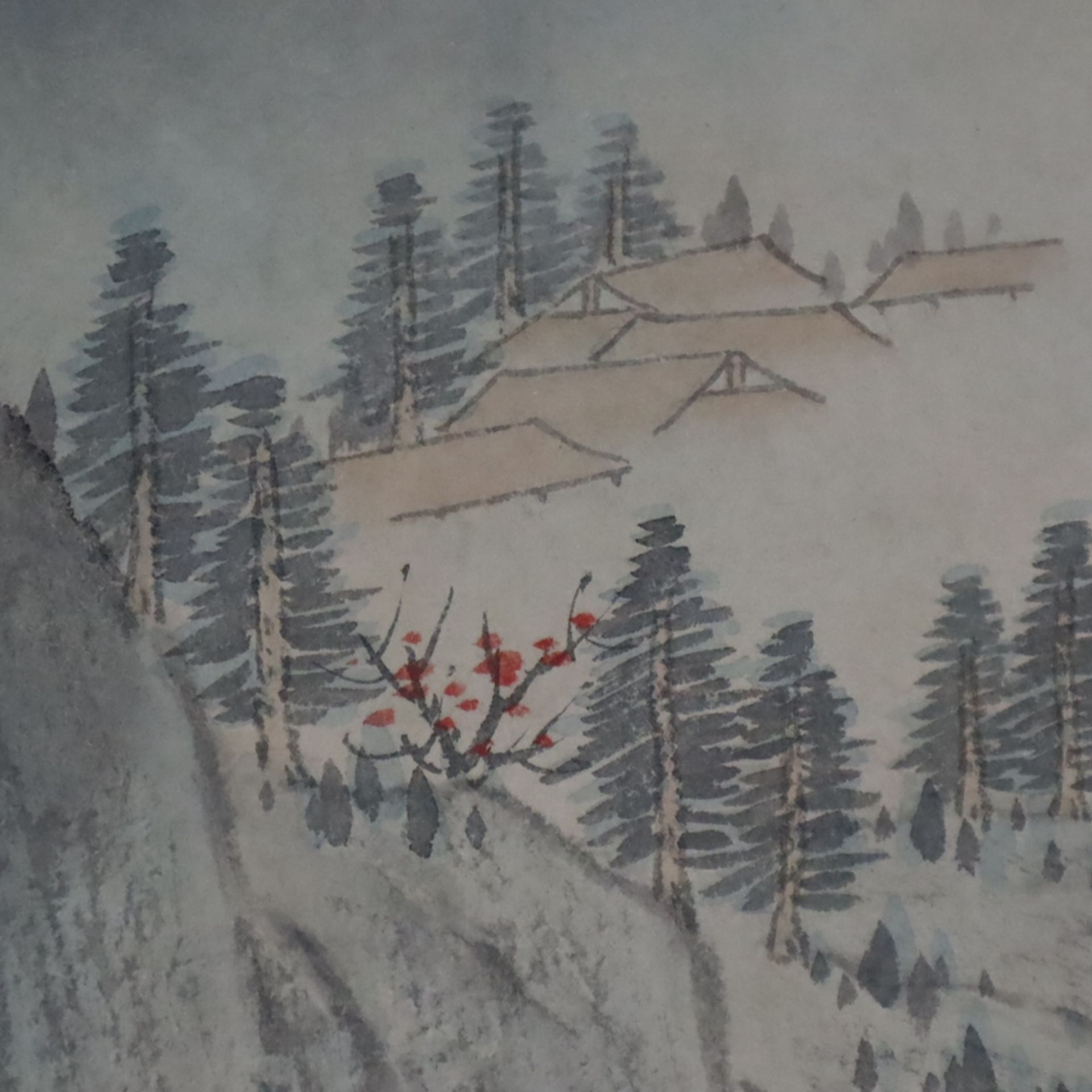 Chinesisches Rollbild - gesiegelt Zhang Daqian (   Chinese Hanging Scroll - sealed Zhang Daqian (18 - Image 7 of 18