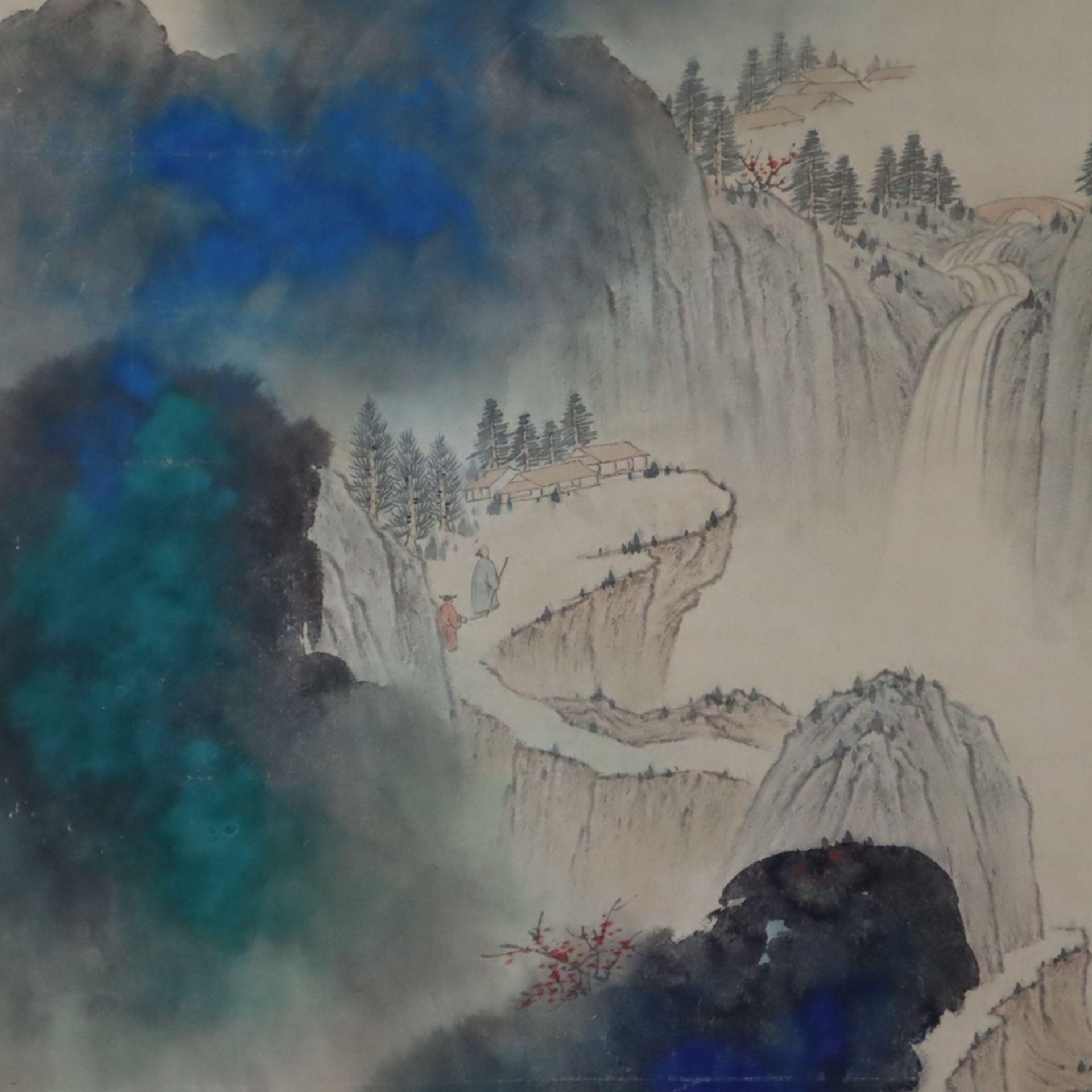 Chinesisches Rollbild - gesiegelt Zhang Daqian (   Chinese Hanging Scroll - sealed Zhang Daqian (18 - Image 3 of 18