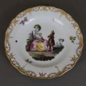 Zierteller - Meissen, Knaufzeit (1850-1924), Porzellan, rund geschweifte Form, im Spiegel polychrom