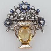 Florale Citrin-/Diamantbrosche - um 1920, überaus filigran gearbeitet, Silber-/Gelbgoldlegierung, B