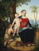 Schmidt, K.J. -19.Jh.- Maria mit dem Jesusknaben und Johannes dem Täufer vor einem mit 'Sfumato' in